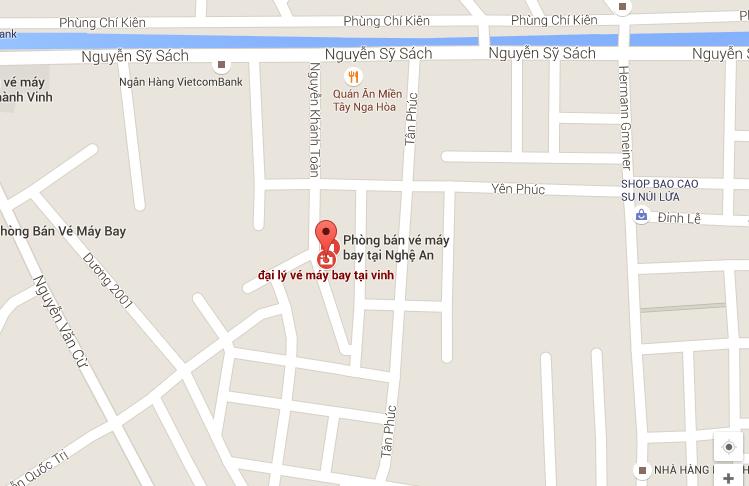 Bản đồ đại lý bán vé máy bay tại Vinh