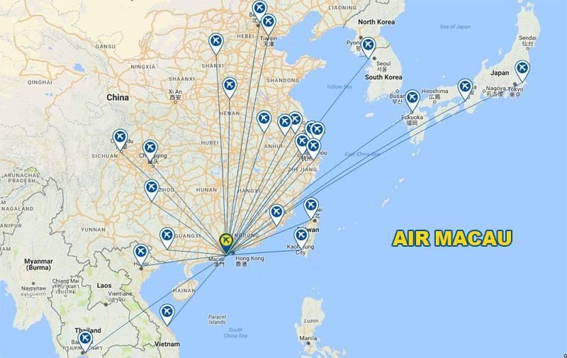 <em>Văn phòng đại diện Air Macau tại Nghệ An - Đường bay của hãng Air Macau</em>
